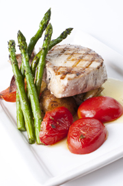 Grilled Mahi Mahi (or whitefish) with fresh vegetables.